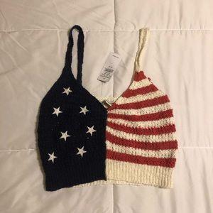 American Eagle American Flag Crop Top